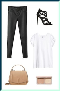 Think a T-shirt is too boring to wear for a night out? Allow Kendall Jenner to change your mind. When it comes to after-dark attire, a tee can definitely give your silky blouses a run for their money. To give your look some edge, just follow Jenner's lead and add leather pants and caged high-heeled sandals. The finishing touches: a structured bag in a neutral color and a white bra to peek out from your sheer shirt. (It's so much fresher than an exposed black bra!)