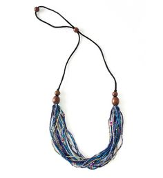 """""""Quick response and delivery."""" - Adriana W. Strand Bracelet, Multi Strand Necklace, Tassel Necklace, Soothing Colors, African Jewelry, Cool Tones, Acacia Wood, Watch Video, Modern Jewelry"""