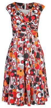 Jolie Moi Multicoloured wrap front 50's prom dress