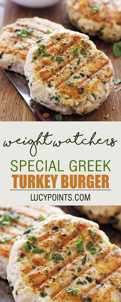 Special Greek Turkey Burger Weight Watchers Smart Points Friendly Source by cooksitnow Spinach Turkey Burgers, Homemade Turkey Burgers, Ground Turkey Burgers, Greek Turkey Burgers, Turkey Burger Recipes, Beef Burgers, Hamburger Recipes, Veggie Burgers, Ww Recipes