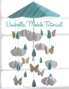 No one will believe you made this umbrella mobile yourself. Great for baby's nursery!