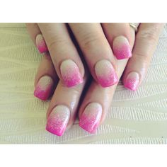 White and Pink Ombré glittered Acrylics