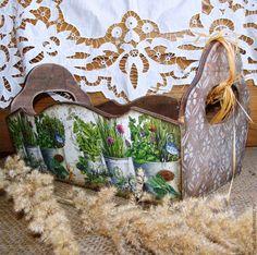 Купить Короб большой для кухни Цветы Прованса. Декупаж - коричневый, короб, короб декупаж, короб для хранения