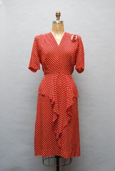 Vintage 1940s red & white polka dot dress