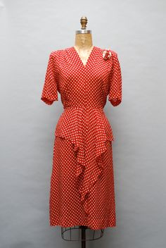 Vintage 1940s red & white polka dot dress