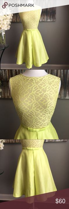 Chic Taylor Contrasting Yellow & Tan Lace Dress Chic Just Taylor Dress - size 6 - 37 inches long - top is designed with yellow lace layered over contrasting tan fabric with a  fitted bodice silhouette and a flared solid yellow skirt - Bow detail at natural waist -  concealed back zipper closure - side seam hidden pockets -  polyester material - contrasting tan skirt slip - office / church / special occasion / wedding guest appropriate - excellent to like new condition - reasonable offers…