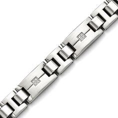 Roy Rose Jewelry Stainless Steel Polished and Brushed CZs Bracelet ~ Length inches Mens Gold Bracelets, Gold Bangle Bracelet, Bracelet Men, Diamond Bracelets, Bracelet Making, Stainless Steel Polish, Stainless Steel Bracelet, Gold Pendants For Men, Gents Bracelet