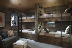 Rustic Lake House Retreat Inspired By Gorgeous Lake Tahoe Surroundings - Room Design Cabin Bunk Beds, Bunk Bed Rooms, Wood Bunk Beds, Modern Bunk Beds, Kids Bunk Beds, Rustic Bunk Beds, Queen Bunk Beds, Bedrooms, Murphy Bunk Beds