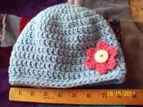 #121 Soft light blue Toddler beanie with rose colored flower