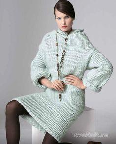 Спицами теплое платье объемной вязки фото к описанию