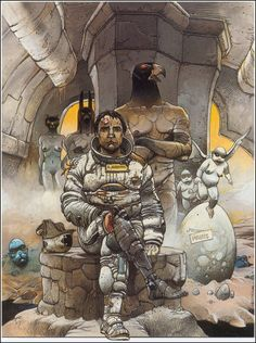 La Foire aux immortels (The Carnival of Immortals) by Enki Bilal, 1980 Serialized in Heavy Metal as The Immortals' Fete, 1981 Art And Illustration, Illustrations, Comic Book Artists, Comic Artist, Comic Books Art, Fantasy Kunst, Fantasy Art, Enki Bilal Bd, Heavy Metal Comic