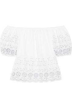 SEE BY CHLOÉ Off-The-Shoulder Broderie Anglaise Cotton Top. #seebychloé #cloth #tops