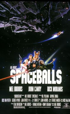 SPACEBALLS: Directed by Mel Brooks.  With Mel Brooks, John Candy, Rick Moranis, Bill Pullman. Planet Spaceball's President Skroob sends Lord Dark Helmet to steal Planet Druidia's abundant supply of air to replenish their own, and only Lone Starr can stop them.
