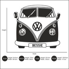 Personalised VW Camper Van Vinyl Wall Art Sticker Decal. This design is shown in wine red but you can choose from our range of 27 colours if you wish by selecting from the drop down box above. If this happens care needs to be taken while smoothing back down to avoid creasing. | eBay!