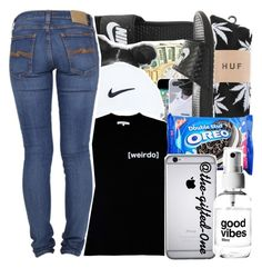 """""""."""" by the-gifted-0ne ❤ liked on Polyvore featuring NIKE, HUF, Illustrated People and Nudie Jeans Co."""