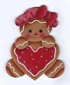 GINGERBREAD Heart Cookie - Handpainted by Pamela House
