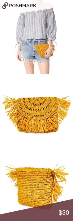 Mar Y Sol Mia Clutch in Sunflower Never been used. Purchased this summer from Shopbop. Sustainably hand woven and dyed in Madagascar. In the color sunflower. Made of straw. Professional photos show true color. Mar Y Sol Bags Clutches & Wristlets
