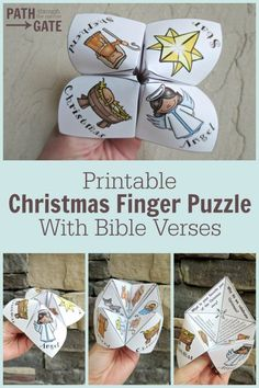 "Yesterday, I told my Sunday School class that we were going to make ""Christmas Finger Puzzles"" for our craft. They took one look at my finished example and told me that I was making was a ""cootie catcher"". No matter how often I tried to correct them, they Christmas Activities, Christmas Printables, Christmas Projects, Holiday Crafts, Holiday Decor, Nativity Crafts, Christmas Nativity, Kids Christmas, Christmas Crafts For Kids To Make At School"