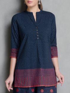 Buy Indigo Red Block Printed Mandarin Collar Cotton Tunic Apparel Tunics & Kurtas Neel Sutra Hand Palazzos Dupattas More Online at Jaypore.com