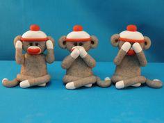 Three Wise Sock Monkeys - See No Evil - Hear No Evil - Speak No Evil by hbrundridge on Etsy