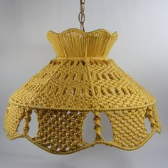 Yellow Macrame Hanging Lamp with gold chain and cord
