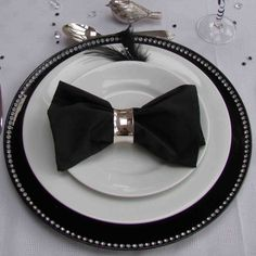 I think this would be really cute for father's day because it looks like a bow tie (minus the bird of course). I also think this would be great for a black tie event.   white plate   Home Who we are Interior Design Garden Design Weddings and Events ...