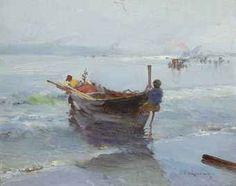 "Jose Navarro Y Llorens (Spanish, 1867-1923), ""Coming ashore"""