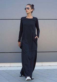 Maxi Elegant Black Cotton Maxi Dress Large Side Pockets / Long sleeves Unique Sophisticated Extravagant Dress Perfect for different events,parties , dinners...weddings .... A definite Head Turner !!! ♥ THE PERFECT GIFT EVER Solution ♥ ♥ I wrapped all garments in my Boutique in a special UNIQUE way ♥ I Love this Gorgeous Garment! This is one of my Favourite ! Always a STAR when wearing it :) ♥ ♥ ♥ So comfortable,elegant,stunning....Youll gonna love this piece ♥ ♥ ♥ Dear to Wear Different...