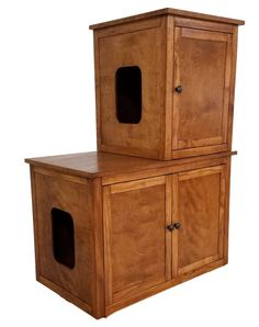 OUR CABINETS ARE MADE TO ORDER. PLEASE CONTACT US FOR CUSTOMIZATIONS.  Odor Free Technology by Furever Pet Furniture. Our custom proudly Made in the USA Wood Cat Furniture not only hides your cat box but destroys all odors. Use for 3 litter boxes or a 2 litter boxes and a feeding area. The advantage of custom made furniture is the customer has options such as, color, the side of the opening, size.   Bottom Cabinet: 34.5L x 20D x 23H; Top Cabinet: 19L x 20D x 23H  Bottom cabinet can be a…