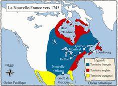 Carte de la Nouvelle-France en 1745, répartition géographique des terres contrôlées par les nations européennes