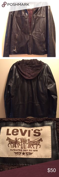 MENS FAUX LEATHER JACKET This looks just like real brown leather! Very warm hooded jacket. Lined and has inside zipper and outside jacket zipper. Only worn 2 times. Levi's Jackets & Coats