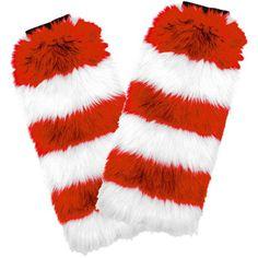 Fuzzy Fan Leg Warmers, Red/White