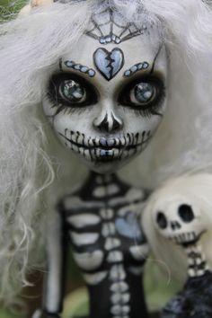 OOAK Monster High custom repaint.  Mermaid Sugar Skull by A. Gibbons