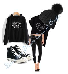 """""""Daniella's PAX Arrival Outfit"""" by darlenebell24 on Polyvore featuring AG Adriano Goldschmied, Converse and Black"""