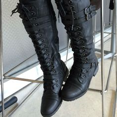 """EDITOR'S NOTE Knee High Lace Up Buckle Straps Boots Those military boots are the real deal! Top Favorited. Available to buy in multiple colors. *Most Helpful REVIEW PICKonNovember 13, 2015: """"These boots are HOT! they…"""