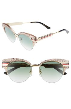 2c432cb38b GUCCI METAL   GLITTERED ACETATE CAT-EYE SYLVIE WEB SUNGLASSES