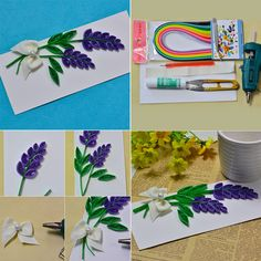 Easy Quilling Lavender Cards - Vivid lavender decorated card made with white card and quilling papers, not difficult to make, but you need to be patient with the quilling patterns. Quilling Paper Craft, Paper Crafts, Quilling Patterns, Valentines Day, Lavender, Card Making, Romantic, Cards, How To Make