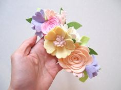 Spring flower crown whimsical/ felt flower by kireihandmade
