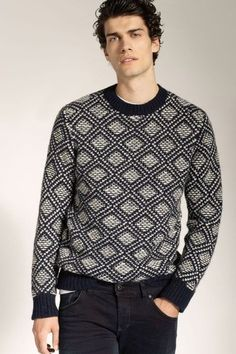 Men's black and white sweater