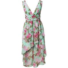 Nly One Floral High Low Dress (74 BAM) ❤ liked on Polyvore featuring dresses, short dresses, mint, party dresses, womens-fashion, floral chiffon dress, chiffon dress, floral dresses and green wrap dress