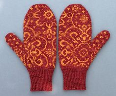 The size of these mittens is determined by the gauge, and is altered by changing needle size. Knitted Mittens Pattern, Knit Mittens, Knitted Gloves, Fingerless Gloves, Knitting Patterns, Knitting Ideas, Needles Sizes, Hand Warmers, Needlework