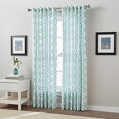 Link Back Tab Window Curtain Panel In Aqua - Give your home a contemporary makeover with the chic style of the Link Back Tab Window Curtain Panel. Its allover geometric print on a crisp white background adds dimension and makes a bold, modern statement. Teal And White Curtains, Aqua Curtains, Office Curtains, Brown Curtains, Printed Curtains, Home Curtains, Modern Curtains, Window Curtains, Aqua Walls