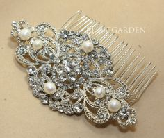 4.5 Vintage Style crystals Wedding Bridal Freshwater Pearl Hair Comb/ Brooch BRH00447