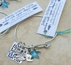 Embrace the Charms  with Beach Scriptz poem handforged metalsmith in sterling silver with sanddollar and crystal starfish #bangle #beach #charm #bracelet on Etsy, $69.00