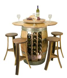 Now this is awesome!!! Wine barrel table w bar stools
