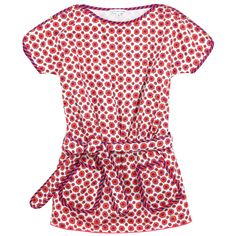 Red floral dress made of silken cotton fabric. Elasticated waistband with a tied belt. Round neckline with short sleeves. Two patch front pockets. Contrast trims with navy blue trims. Machine wash at 30°C. - $AU 116.00