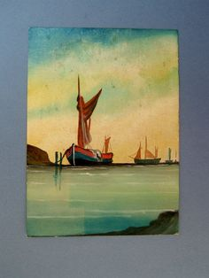 1920s Painting of Sail Boats By C A Williams by QueensParkVintage