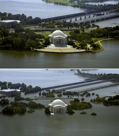 """The Thomas Jefferson Memorial in Washington D.C. is shown in its current state (top) and with a 25-foot sea-level rise (bottom). """"I want people to look at these images and understand that the places they value most may very well be lost to future generations if climate change isn't a bigger priority on our minds,"""""""