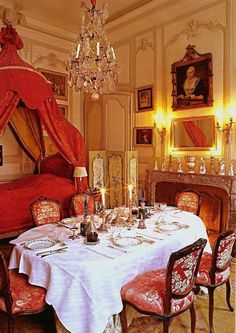 Rooms in the century were often used for a multitude of purposes. This room set for dining is also equipped with a canopied day bed. Beautiful Interiors, Beautiful Homes, French Interiors, House Beautiful, Chateau Hotel, French Architecture, Interior Decorating, Interior Design, French Country Style