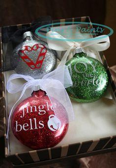 Cute Christmas Ornament Boxed Set of 3, custom designed interior-glittered glass ornaments